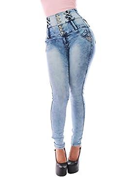 FARINA® 1622 Pantalon Vaquero de Mujer, Push up/Levanta Cola, Pantalones Elasticos Colombian,Color Azul Claro,...