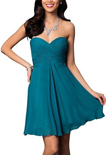 BRLMALL Women's Plain Sweetheart Chiffon Short Party Dress