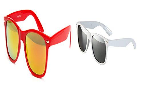 Ciffre 2 Brillen Partybrille Miami Techno Festival Nerd Brille Sonnenbrille Verspiegelt Brillen Rot Weiß