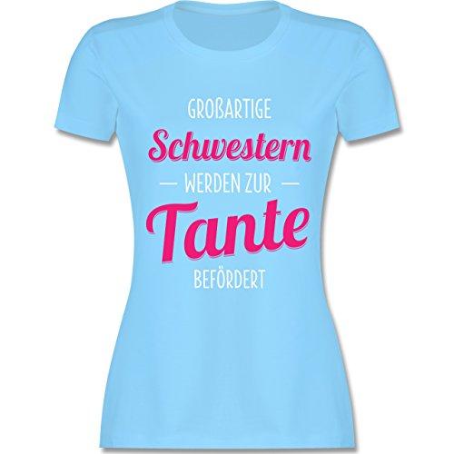 Shirtracer Schwester & Tante - Großartige Schwestern Werden zur Tante Befördert - Damen T-Shirt Rundhals Hellblau