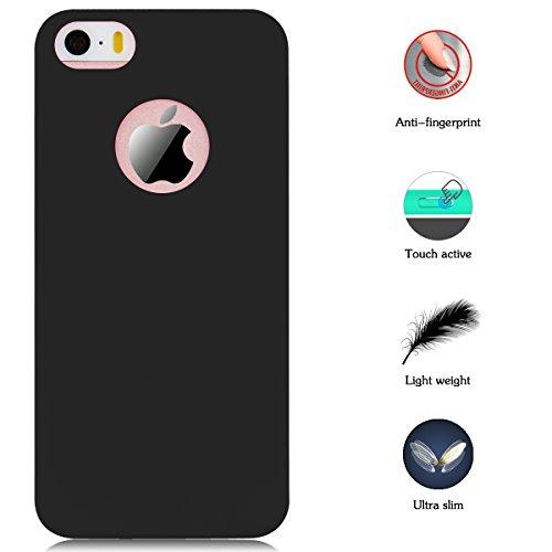 iPhone 5 / 5S / SE Hülle, Yokata Einfarbig Jelly Weich Silikon Gel Case Ultra Slim Matte Cover Anti-Fingerprint Schutzhülle Sehr Dünn Handyhülle - Rosa Schwarz