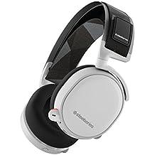 SteelSeries Arctis 7, Auriculares para juego, Inalámbrico, DTS 7.1 Surround para,PC,Mac,PlayStation 4,Android,iOS,VR, color Blanco