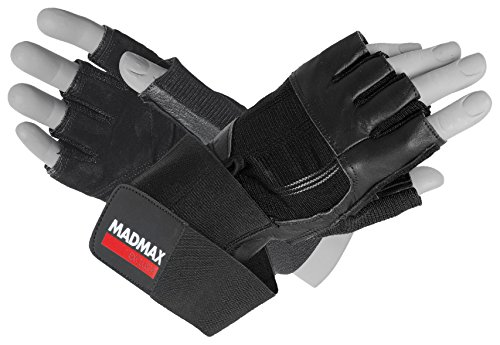 MAD MAX Fitness Handschuhe Madmax Professional Leder, Gloves Leather, fitnessstudio, traininghandschuhe, Schwarz/Schwarz, S