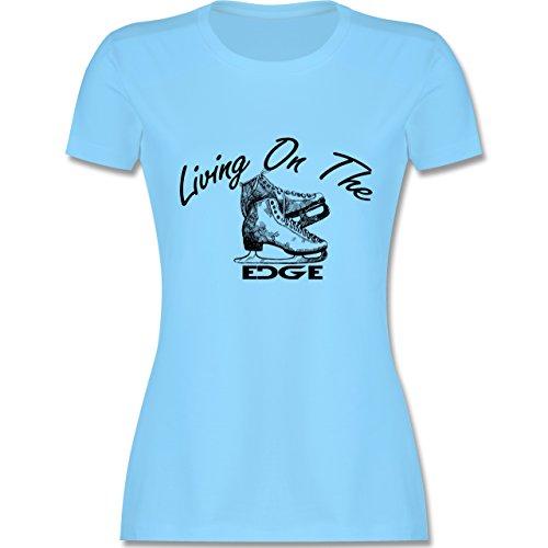 Wintersport - Living On The Edge - tailliertes Premium T-Shirt mit Rundhalsausschnitt für Damen Hellblau