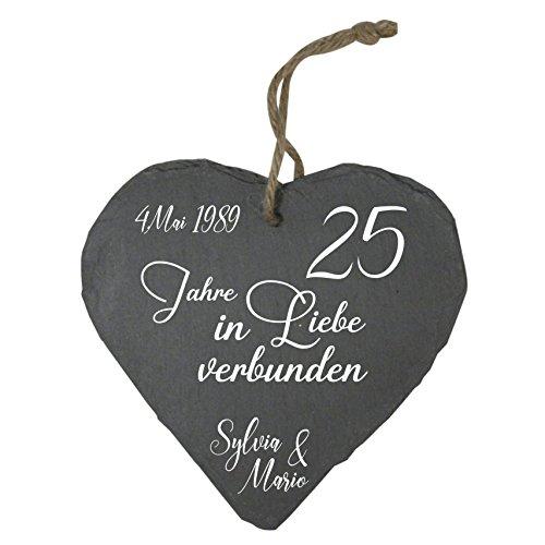MCK-Handel Schieferherz Bedruckt anstellte Gravur - Größe 20cmx20cmx0,3cm - Thema Hochzeit und 25.Jähriges Jubiläum