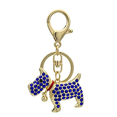 KesiErte Metal Rhinestone Keychain Jewelry Cartoon Cute Puppy Car Key Pendant , A