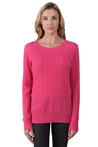 J CASHMERE Damen Pullover Gr. Large, Rosa - Hot Pink (Pullover Crewneck Cable Cashmere)