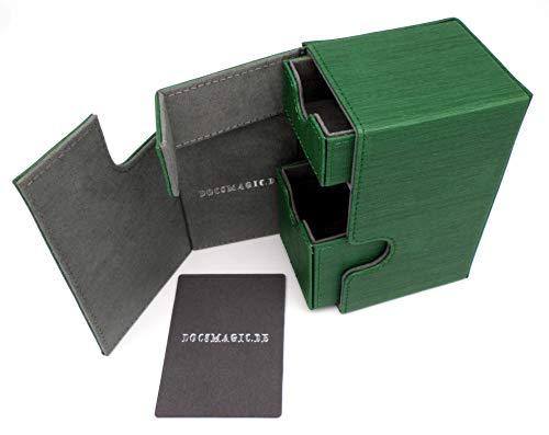 docsmagic.de Premium Magnetic Tray Box (100) Green + Deck Divider - Magic - Pokemon - Yu-Gi-Oh! - Kartenbox Grün (Deck Box Grün)
