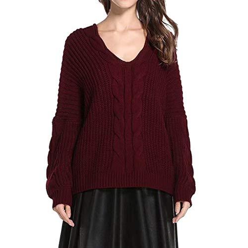 Tohole Damen Pullover Winter übergroße Pullover lose V-Neck Fledermausärmel Warm gestrickter Oversize Pullover Oberteil Langarmshirts Tops Hemd Shirt(rot,L)