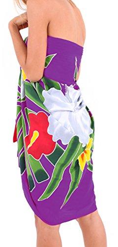 mano floreale dipinta beachwear rayon più il costume da bagno coprire involucro sarong hawaiano Lavanda Rosa