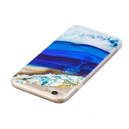 JAWSEU Coque Housse pour iPhone 6/6S 4.7,iPhone 6S Etui en Silicone Ultra Mince iPhone 6 Coque Tpu Cristal Clair Romantique Élégant Beau Mer Coloré Motif Slim Fit Flexible Doux Caoutchouc Couverture E bleu profond