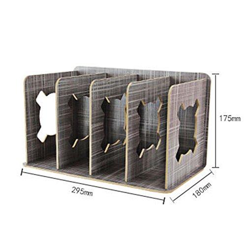 gossipboy abnehmbarer Holz-Design, Schreibtisch Buch Storage Rack DIY Organizer Bürobedarf Getreide Magazin Rack CD-Halter Schreibtisch Ordentlich Kleiderbügel Rack schwarz