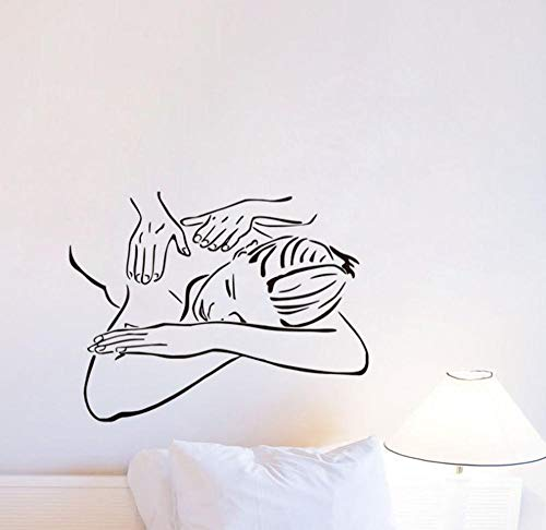 Mädchen Massage spa Vinyl Wandaufkleber Dekoration Schönheitssalon Kunst Tapete Abnehmbare Wandtattoo Wandbild 73 cm x 56 cm