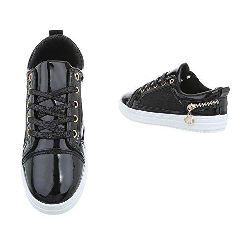Ital-Design Scarpe da Donna Sneaker Piatto Sneakers Low nero N-4-1