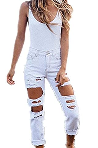 EMIN Damen Lose Jeans Boyfriend Denim Hose röhre mit löchern Loch Jeanshose