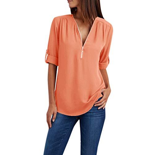 CAOQAO Mode LäSsig Damen Sexy Einfarbig Zipper Button Long Sleeves Lose Chiffonhemd Kleidung Atmungsaktives Laufshirt