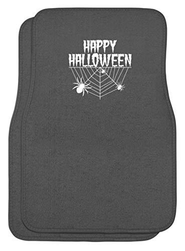 SPIRITSHIRTSHOP Happy Halloween - Spinnennetz und Spinne - Automatten -Einheitsgröße-Mausgrau