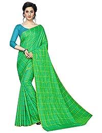 136cdac5bf13f Deepjyoti Creation Women s Beautiful Checks Designer Green Panetar Silk  Saree With Blue Shaded Benglori Blouse Piece