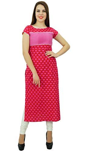 Phagun Baumwolle Kurti Ethnische Frauen Kurta Lässige Herz Druck Designer Kleid Rot und Rosa
