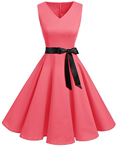 bridesmay 1950er V-Ausschnitt Kleid Vintage Cocktailkleid Rockabilly Retro Schwingen Kleid Faltenrock Blush 4XL (Pin Up Baby Kostüm)