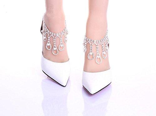 XIE Damen Hochzeit Schuhe / Brautjungfer und Braut / Strass Knöchelriemen / Stiletto Ferse / Spitzzehe / High-heels Sandalen / Tanzschuhe Weiß
