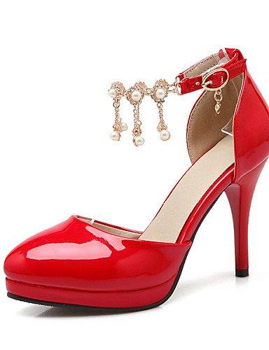 WSS 2016 Chaussures Femme-Mariage / Habillé / Décontracté / Soirée & Evénement-Noir / Rouge / Amande-Talon Aiguille-Talons-Talons-Cuir Verni black-us8 / eu39 / uk6 / cn39