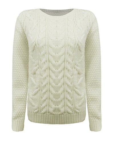 Generation Fashion - Maglione da donna lavorato a maglia, girocollo, manica lunga Cream