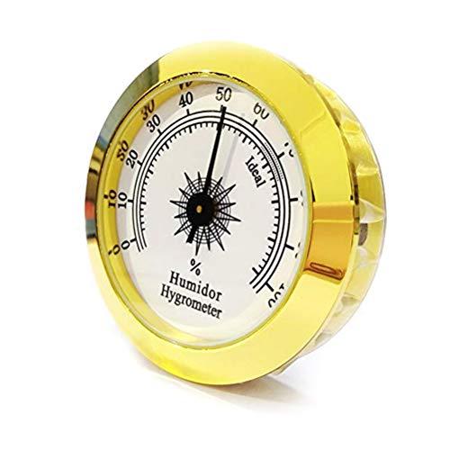 Faviye 1 STÜCKE 50 MM Tragbare Digitale Hygrometer Runde Gold Mini Hygrometer für zigarrentabak Box