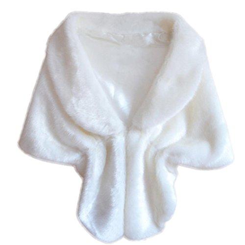 Wrap, Frauen Mode Elegante Braut Hochzeit Faux Pelz Lange Schal Stola Wrap Shrug Schal Von Dragon868 (Weiß) (Double-layer-v-ausschnitt-pullover)