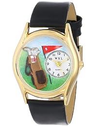 Whimsical Watches Unisex-Armbanduhr Golf Bag Black Leather And Goldtone Watch #C0820010 Analog Leder mehrfarbig C-0820010