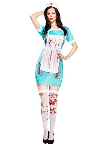 Zombie Bloody Nurse + Stockings Ladies Fancy Dress Halloween Womens Costume New UK 10-14 by Mega Fancy Dress