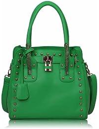 Femmes vert cloutés fourre-tout cadenas sac à main - KCMODE