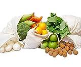 Sacs à légumes en Coton Biologique, Sacs à Jouets, Produire des Sacs, zéro déchet, Sacs de Coton, Sac a Vrac, Sac en Cotton pour legumes, Ensemble de 6 (XL)