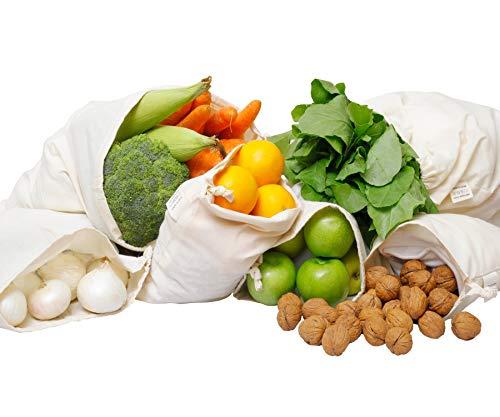 Wiederverwendbare Baumwolle, Netzbeutel, Plastikfrei Einkaufen, Taschen aus Bio Baumwolle, stoffbeutel, Baumwollbeutel, Musselin-Tasche Baumwolle - Mehrwegbeutel Obst Gemüse - set of 6(X-Large)