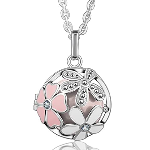 Eudora Harmony Ball Flower Pendant Crystal Women Necklace Lockets Sterling Silver Plated Bola Peach