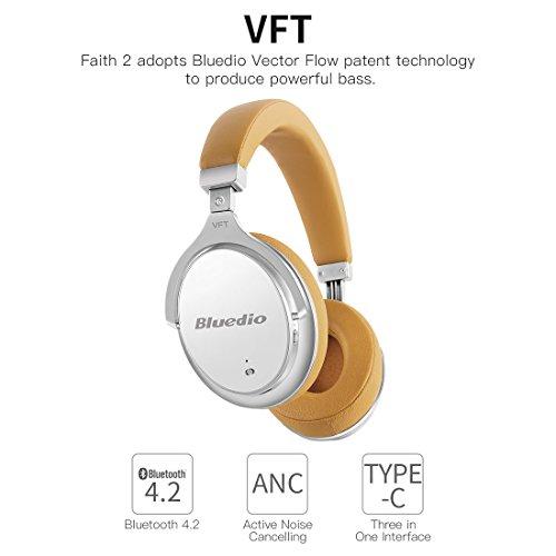 Bluedio F2(Faith) Cuffie Con Riduzione Attiva Del Rumore Ripiegabili, Over-ear, affari Cuffie Bluetooth Senza Fili Con Microfono (Bianco)