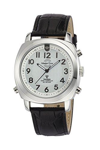 Master Time Sprechende Funk Herrenuhr Deutsch mit Beleuchtung und Lederband MTGA-10632-20L, Leder Armbanduhr