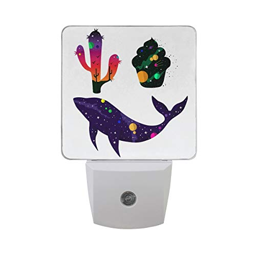 t of 2 Colorful Galaxy with Solar System Planet Sunset Bird in Cactus Cupcake Whale Silhouette Universe Auto Sensor LED Dusk to Dawn Night Light Plug in Indoor for Adults ()