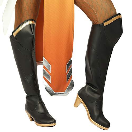 Thons OW Mercy Cosplay Schuhe Kostüm Zubehör Halloween Outfits Uniform Set Game Zubehör Deluxe Anzug für Party, Karneval und Fasching Unisex Verschiedene Größe