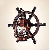 AGECC 110-230V Wandleuchte Lampe für den Innenbereich im europäischen Stil der antiken mediterranen Holzruder antike Laterne Lampe amerikanische Persönlichkeit Bar Lampe, C.