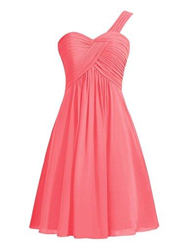 CoutureBridal® Ein-Schulter Brautjungferkleid Abendkleid Plissee ParteiKleid Chiffon Koralle