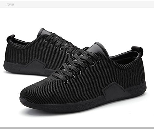 WZG Herbst und Winter Männer Casual Schuhe, Sportschuhe laufende Schuhe der Männer gestreifte Schuhe Black