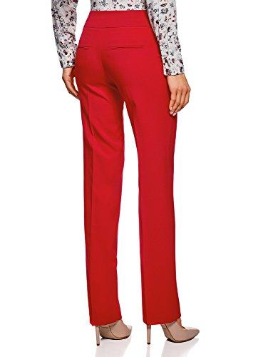 oodji Ultra Damen Klassische Hose mit Bügelfalten Rot (4500N)
