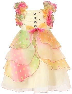 Richie House Girls' Kleid mit Dreischichtpastell Rüschen und Perlen Akzente RH0920