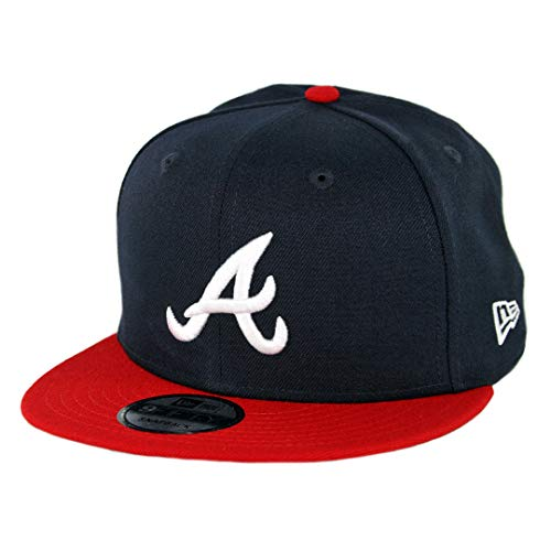 New Era Atlanta Braves Basic Logo MLB Snapback Cap Navy-Rot, One Size - Atlanta Braves-snap