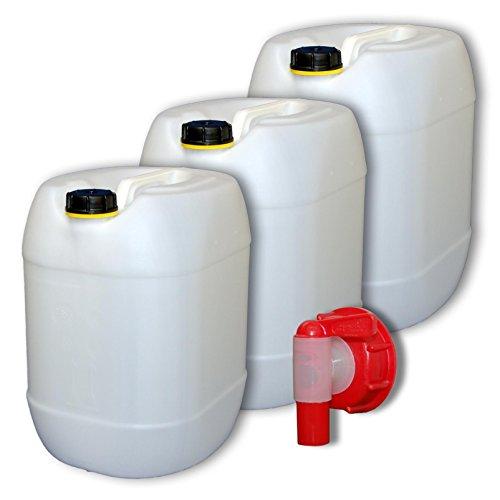 3x30L Kanister mit Deckel + extra Zapfhahn für Trinkwasser - natur