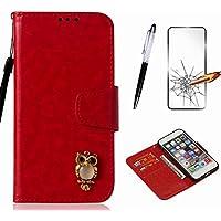 Handyhülle für Samsung Galaxy S3 I9300/S3 Neo i9301 Hülle MISSDU Leder Flip Case Brieftasche Etui SchutzhülleTasche Cover Rhinestone Eule+Screen Protector + Touch Pen - rot