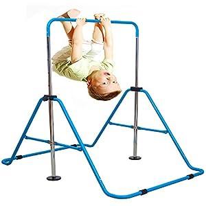 Expandable Gymnastics Bars Junior Training Bar Adjustable Height Gymnastic Horizontal Bars Children Folding Training Monkey Bars Child Gym Climbing Tower Kip Balance Bar for Kids (Blue)