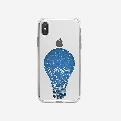 Klar, Bulb Cover (licaso iPhone X IPX Handyhülle TPU mit Think Bulb Print Motiv - Transparent Cover Schutz Hülle Aufdruck Lustig Funny Druck)