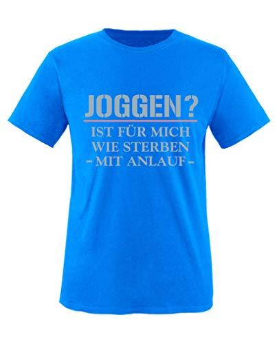 Comedy Shirts - Joggen? Ist Fuer Mich wie Sterben mit Anlauf - Mädchen T-Shirt - Royalblau/Eisblau-Rosa Gr. 110/116 - Sterben Hoody